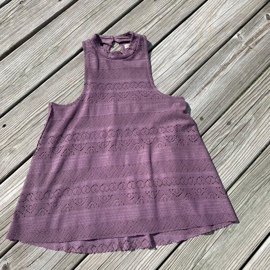 Purple Lace Mock Neck Tank