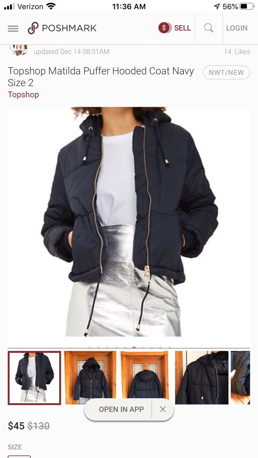 NWOT TOPSHOP Matilda Puffer Coat - Size