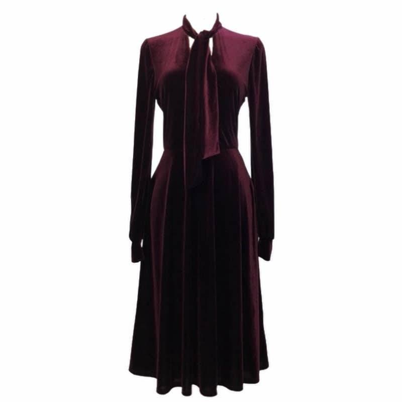 Black Halo Burgundy Red Velvet Dress 6