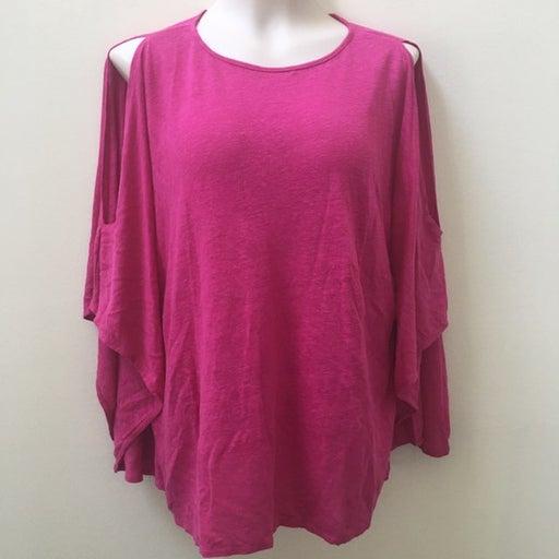 Calypso Pink Linen Cold Shoulder Top S