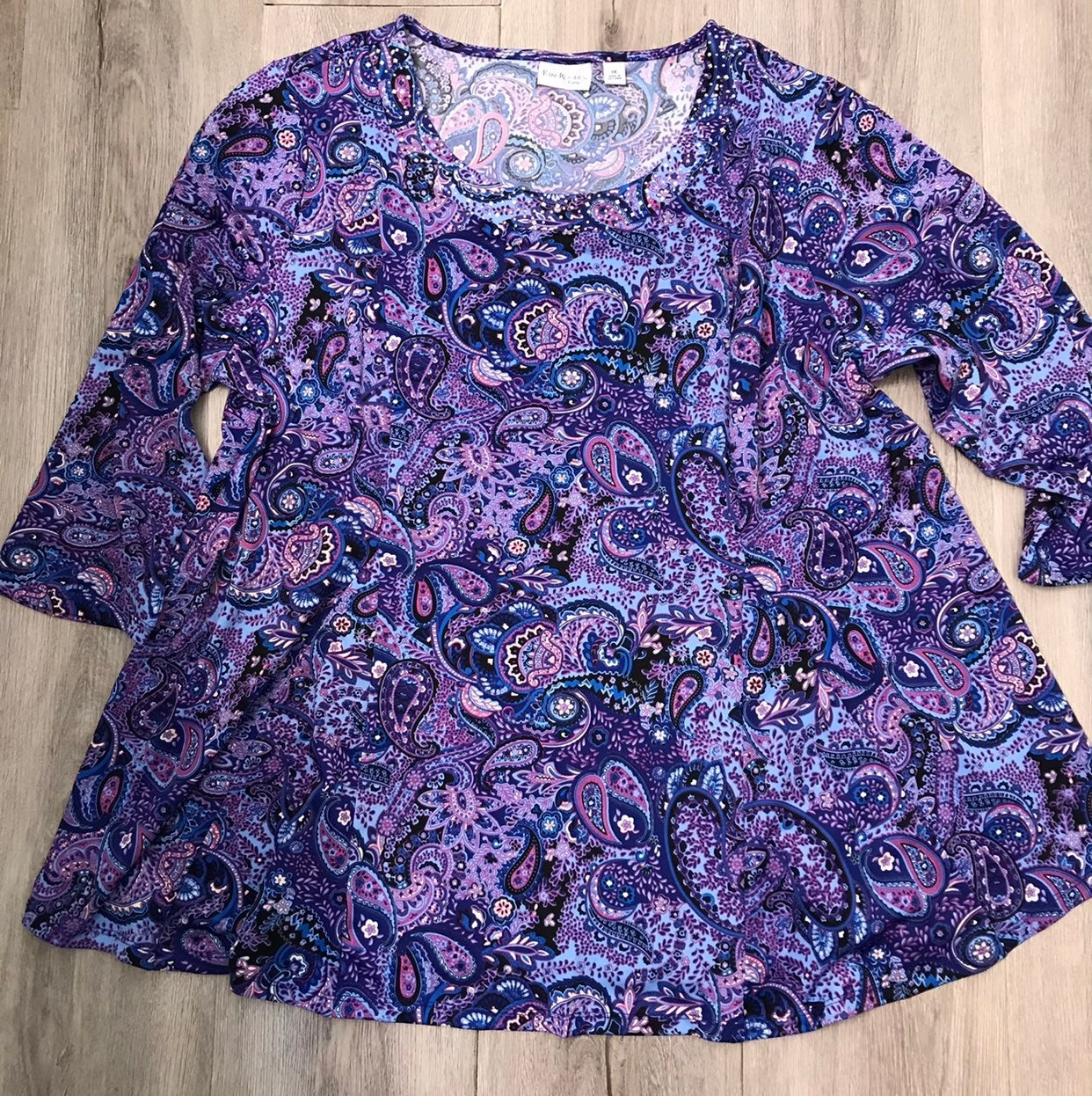 Kim Rogers purple paisley top 1X