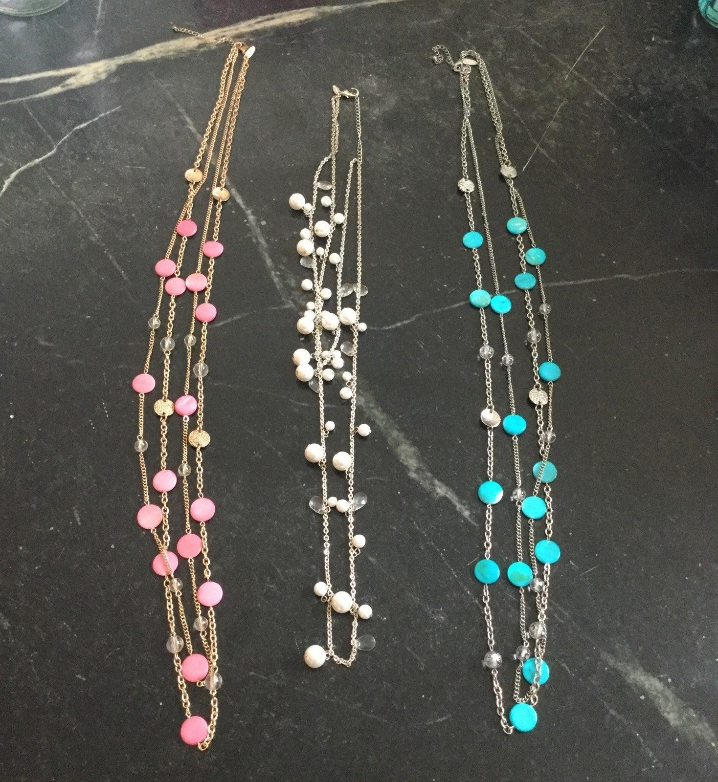 Three Long Fashion Necklace Bundle