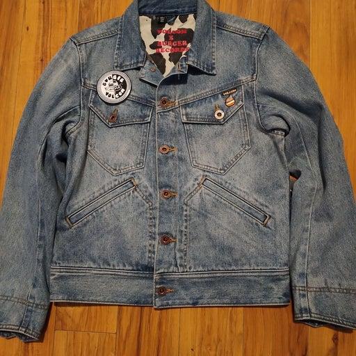 Volcom x Burger Records denim jacket bra