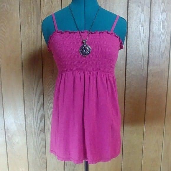 Aero Pink Shirred Cami Tunic Top Small