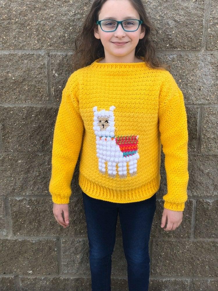 Handmade crochet llama sweater new