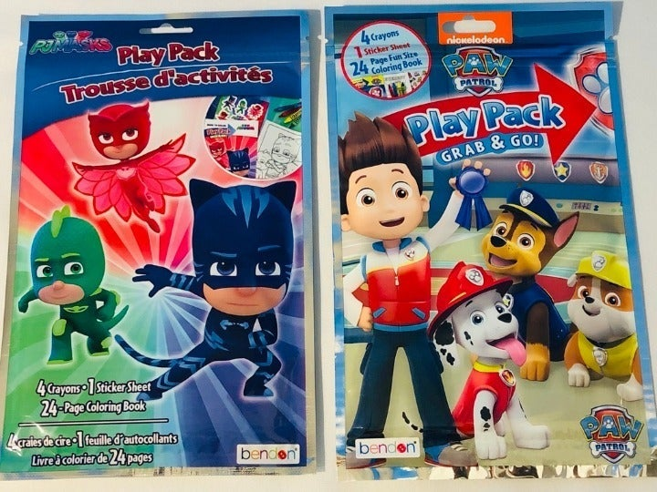 2X Paw Patrol and Pj Masks Travel Pack