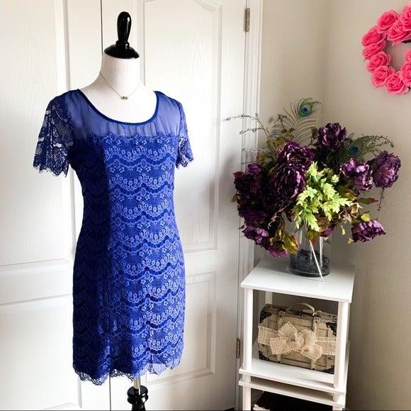 Gianni Bini Blue Lace Sheath Dress