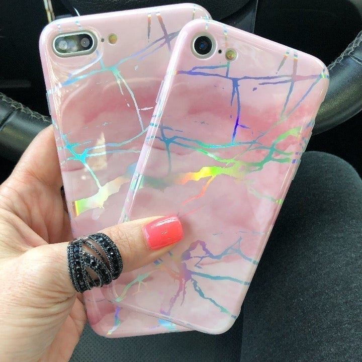 NEW iPhone 7/8 Pink Marble Holo Case
