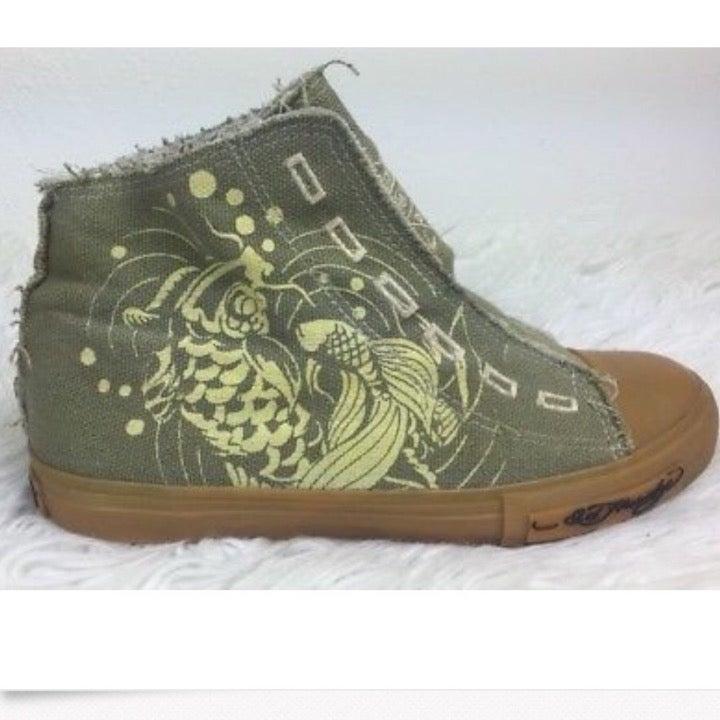 Ed Hardy Organic Hi Top Lion Canvas Shoe