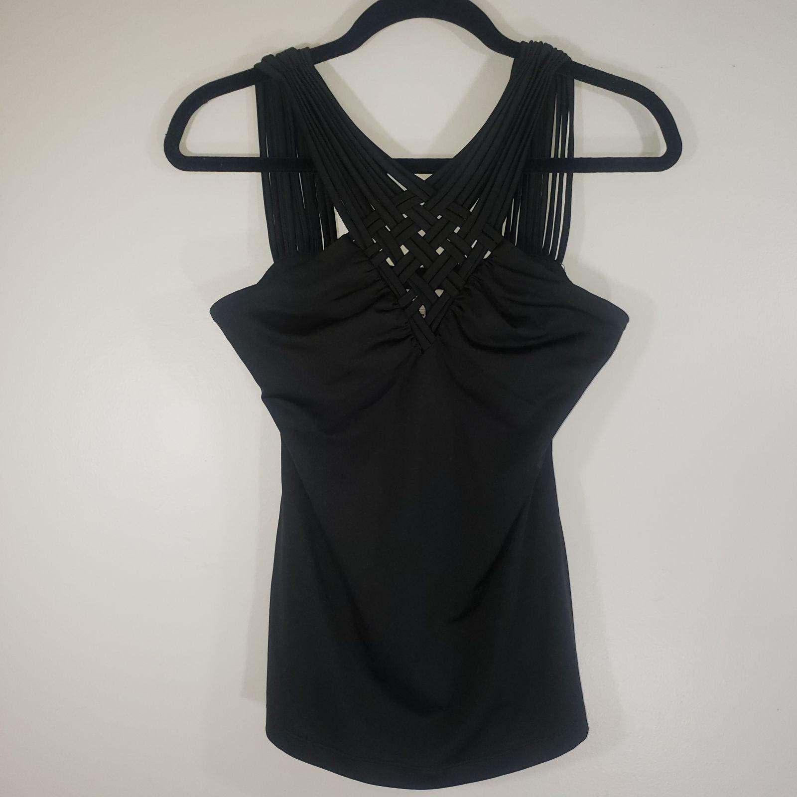 CACHE braided multi-strap black top