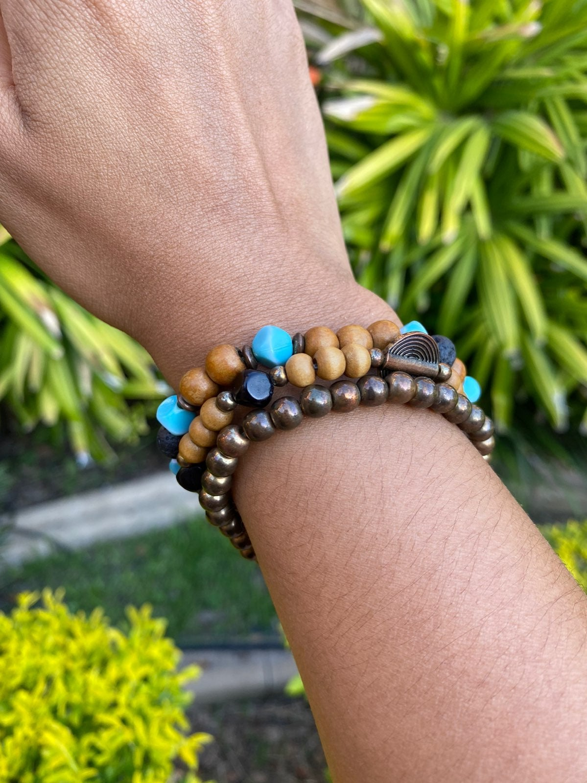 Wooden teal and brown beaded bracelets