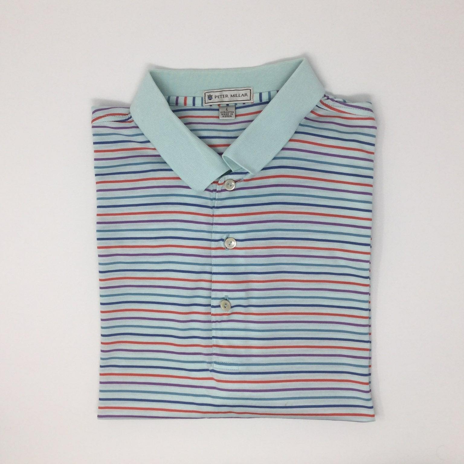 Peter Millar Striped Polo Shirt Size L