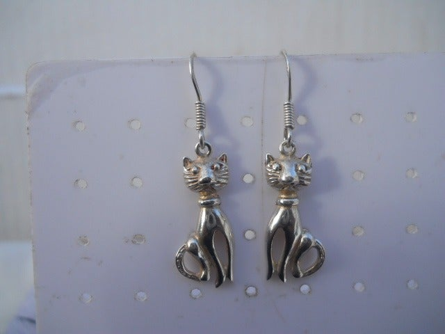 Kitten 925 Sterling Silver Dangle ER