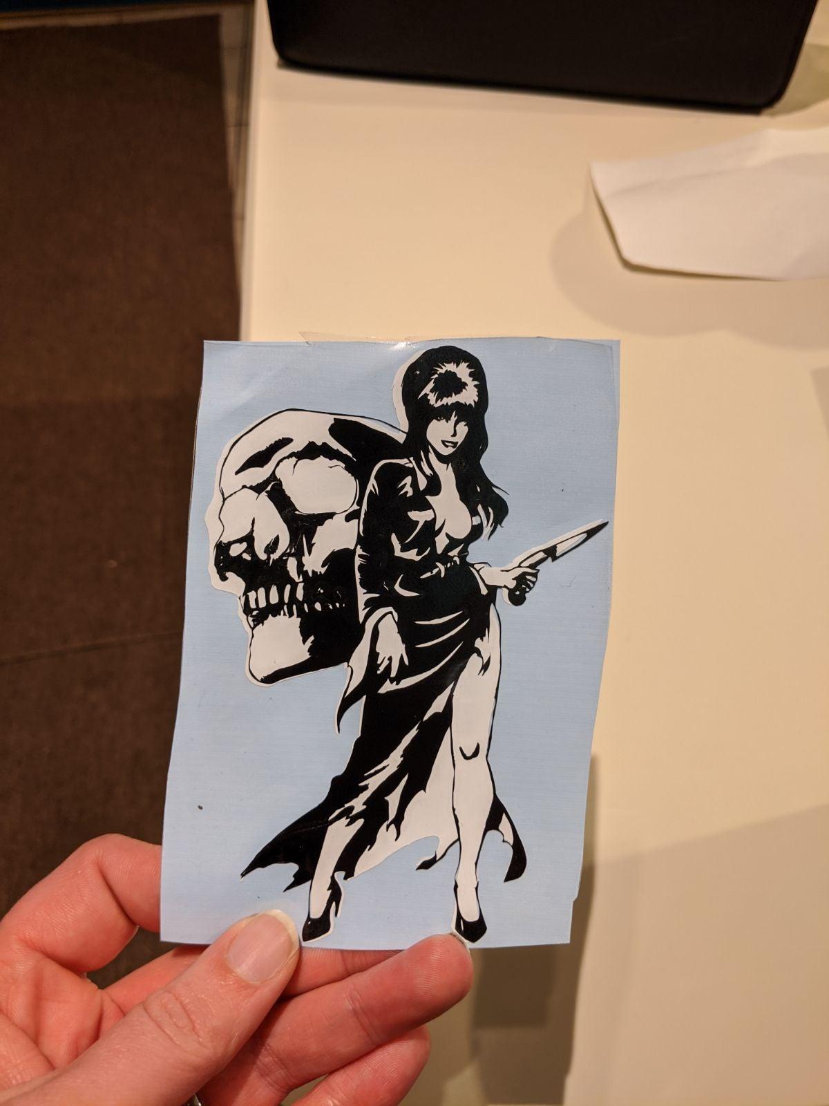 Elvira with skull decal