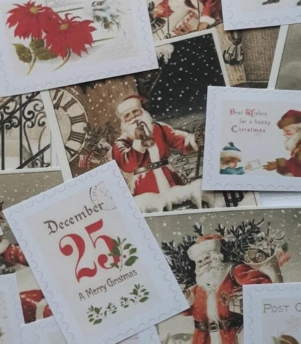 23 big vintage christmas stickers