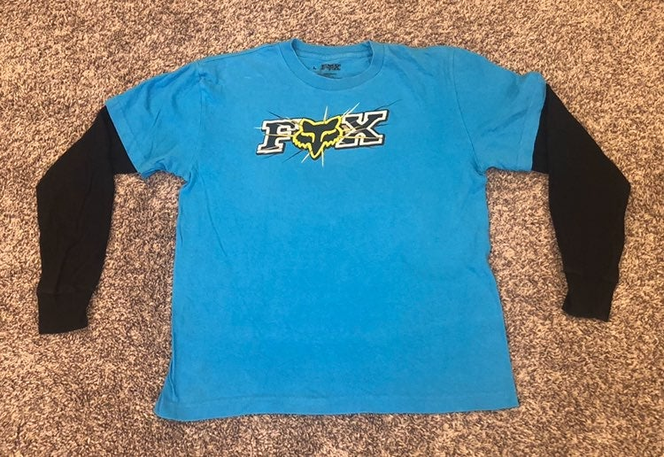 FOX Racing Blue Black Long Biking Shirt