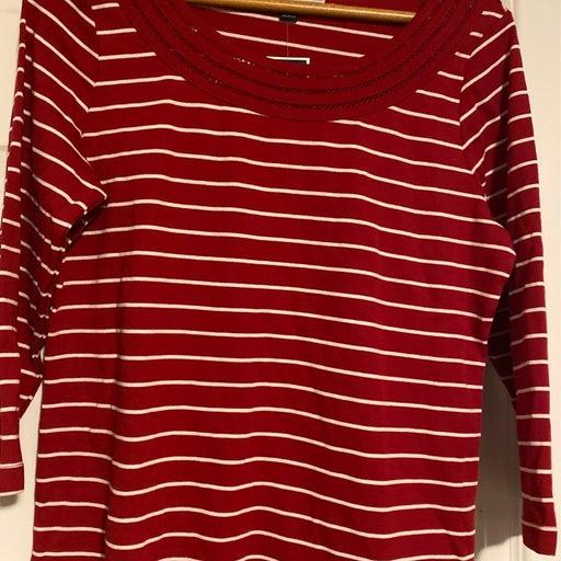 New Karen Scott Red/White Striped Shirt