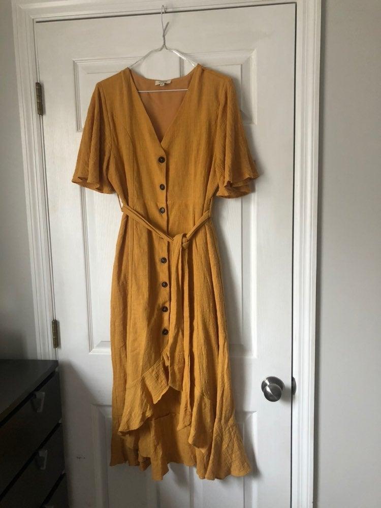 Mustard Button Down Flare Dress