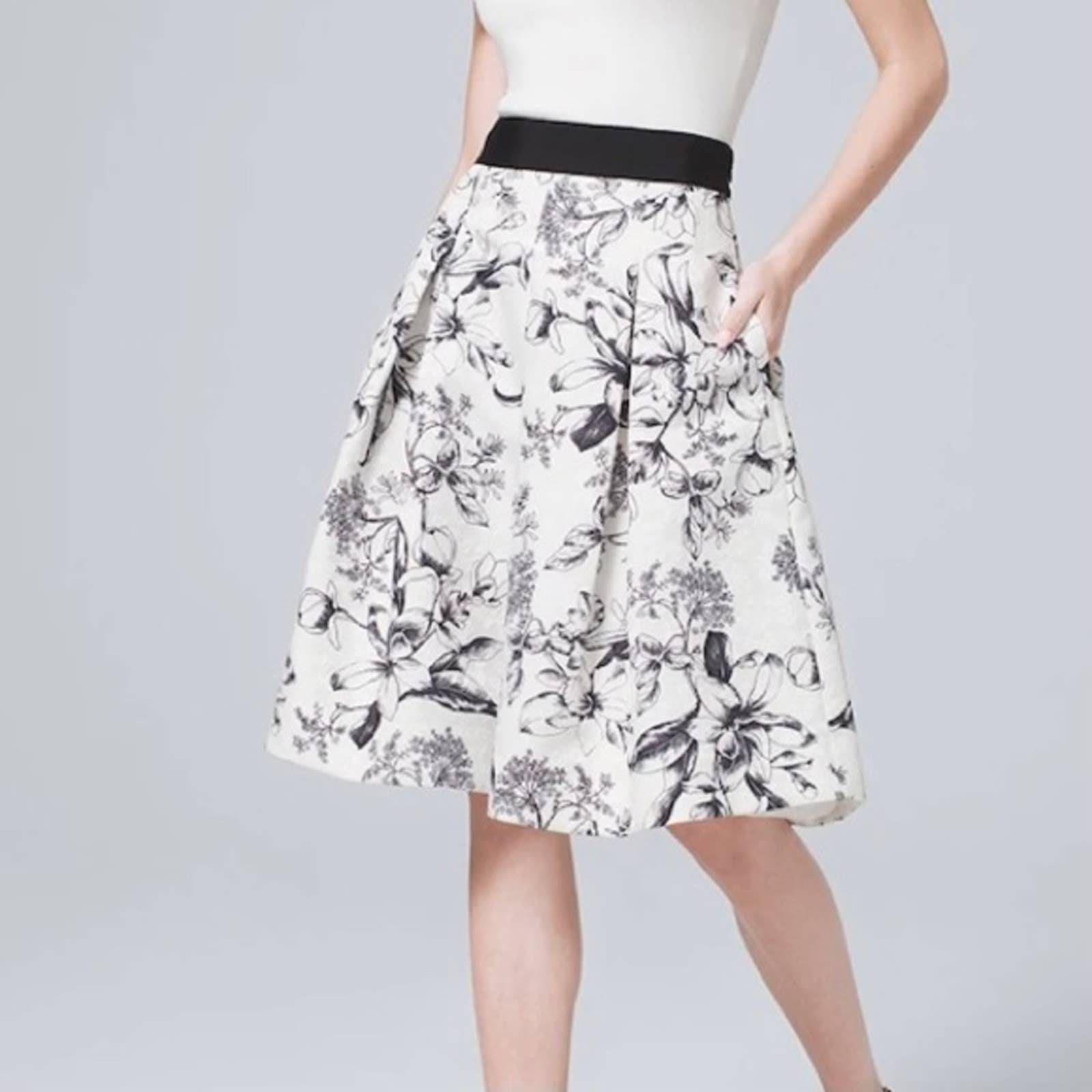 WHBM Floral Jacquard Aline Pleated Skirt