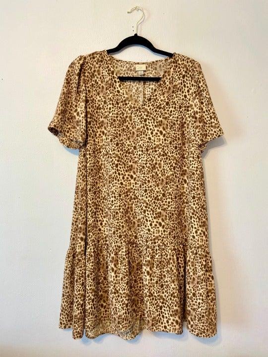 V-Neck Flair Cheetah Print Dress