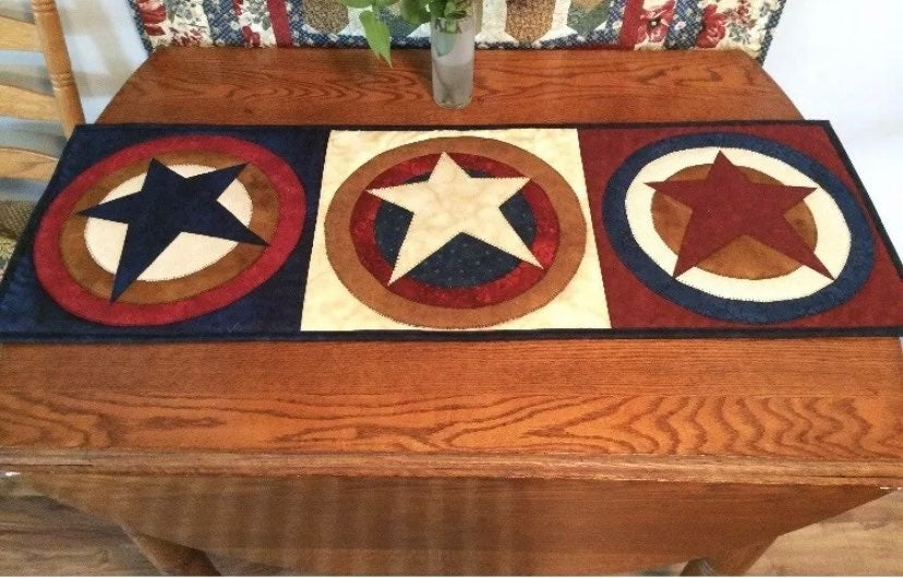 New Patriotic Star Quilted Table Runner