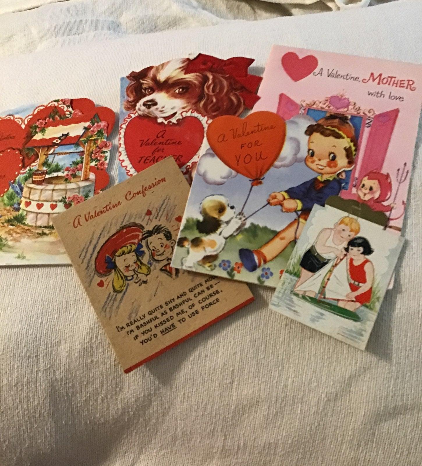 Cards,greeting,Valentines,vintage 5cards