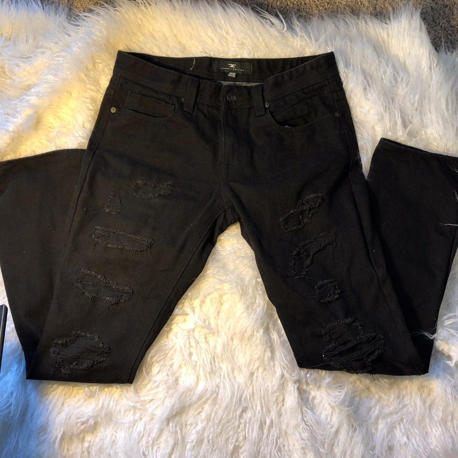 black ripped jeans men