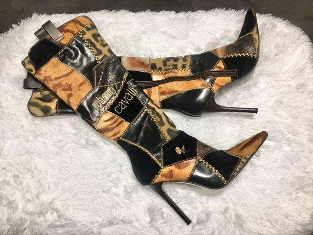 Roberto Cavalli Designer Boots,  size 9.