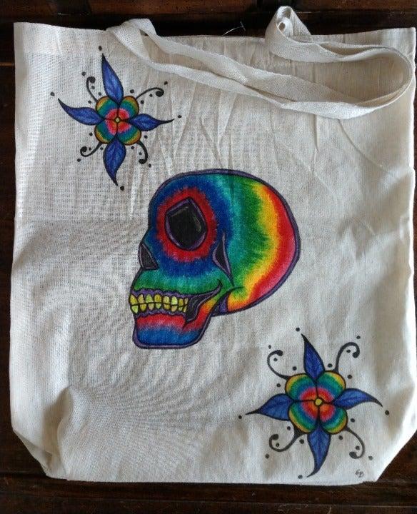 Rainbow Skull Market Bag Floral Tote Bag