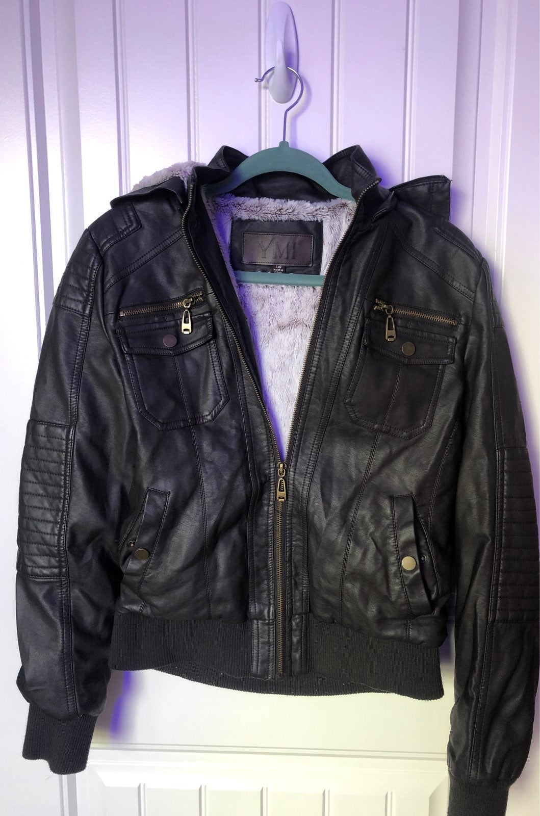 Hooded brown Faux Leather Jacket