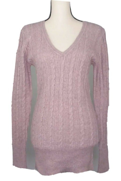 NEW CAbi M Cable Knit Sweater Plum