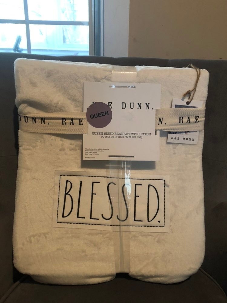 Rae Dunn Blessed Queen size blanket