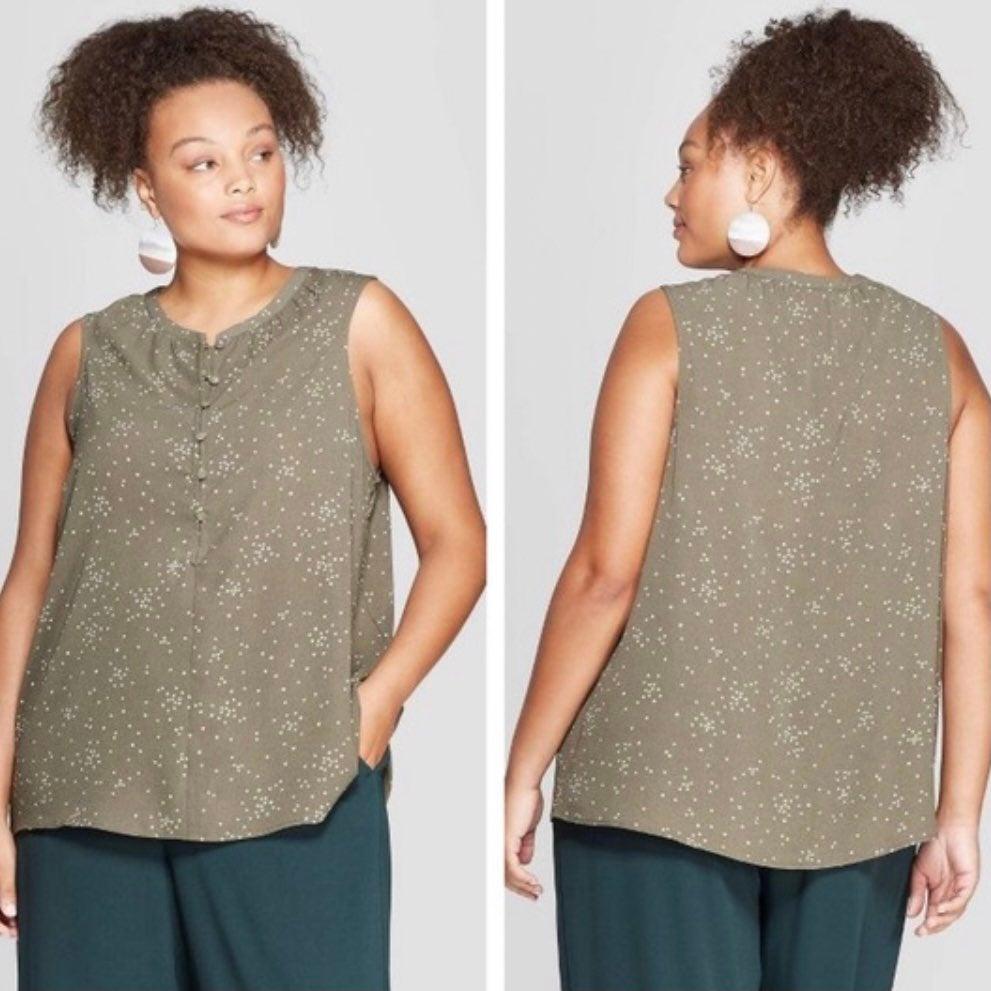 Plus size sleeveless green top 2X