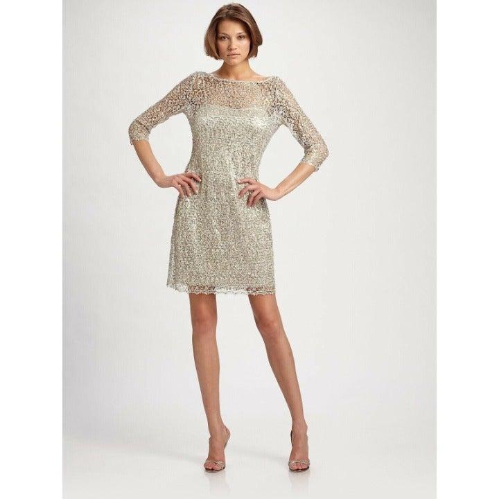 Kay Unger New York Sequin Illusion Dress