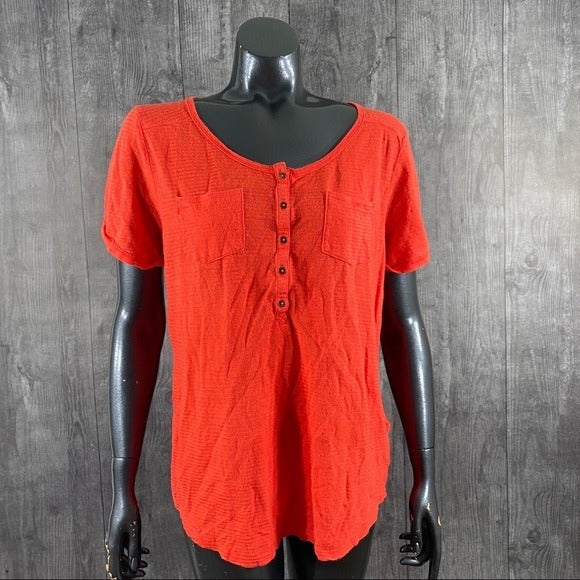 Lucky Brand Large Tangerine Ribbed Top