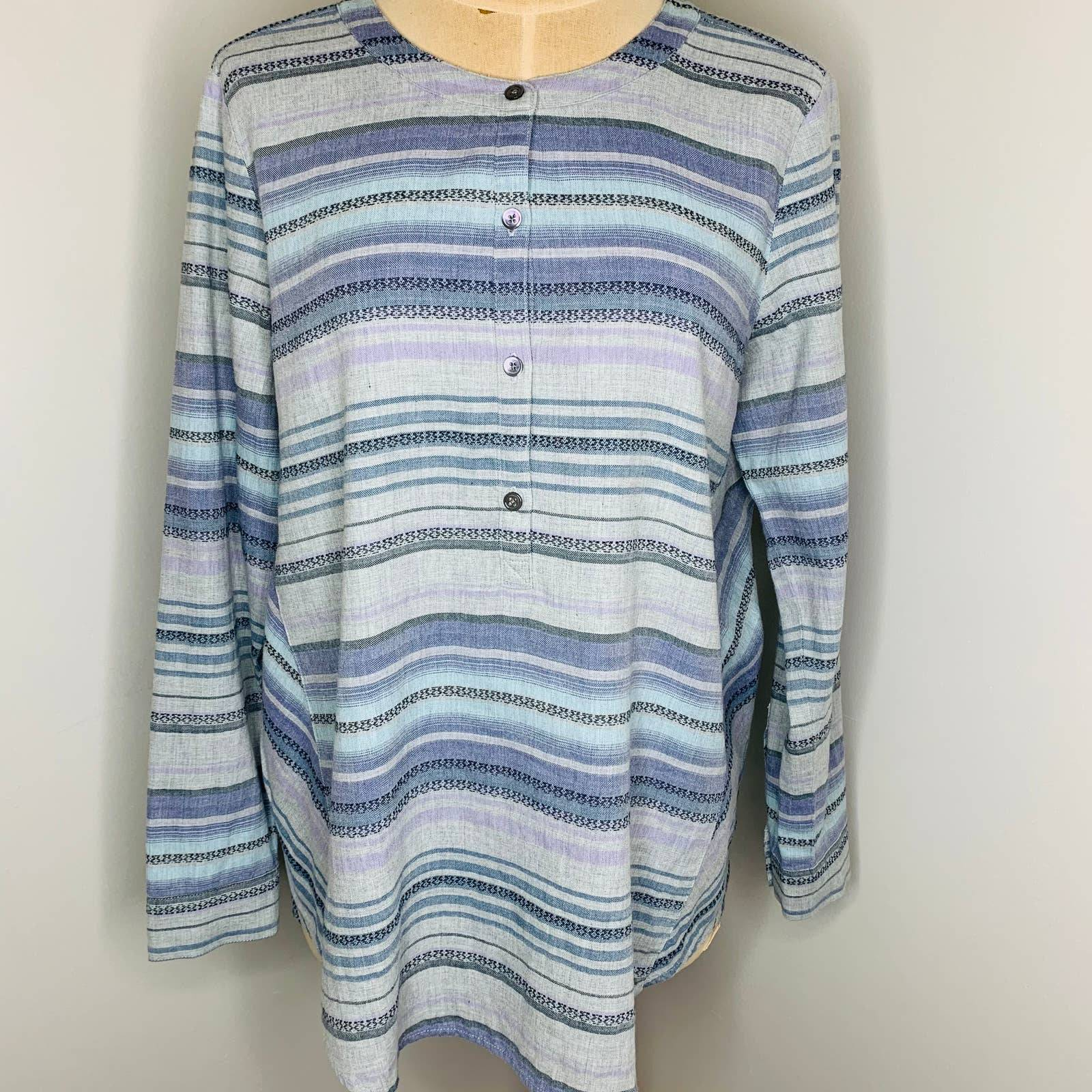 J. Jill Striped Long Sleeve Henley Top S