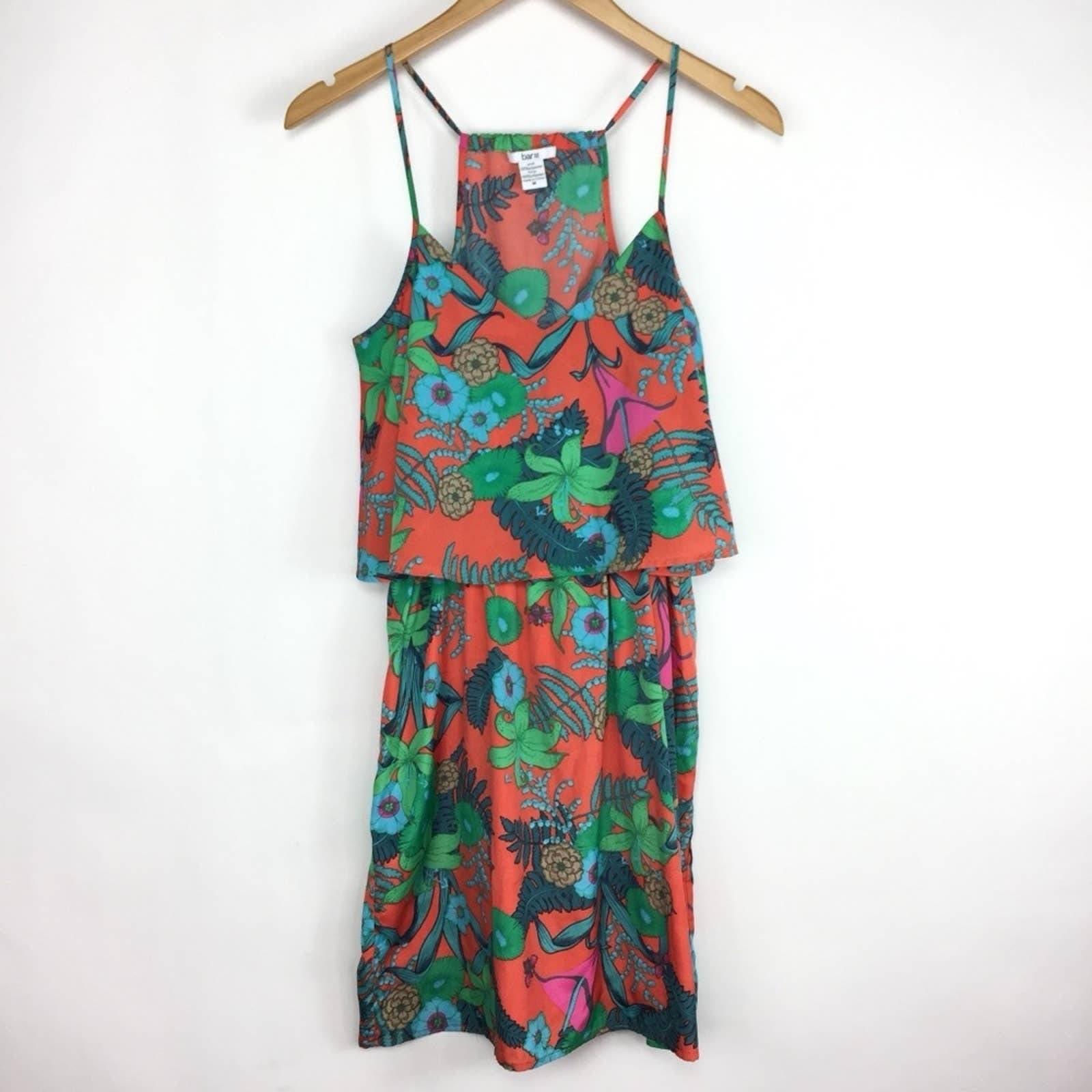 Bar III Red Botanical Print Strap Dress