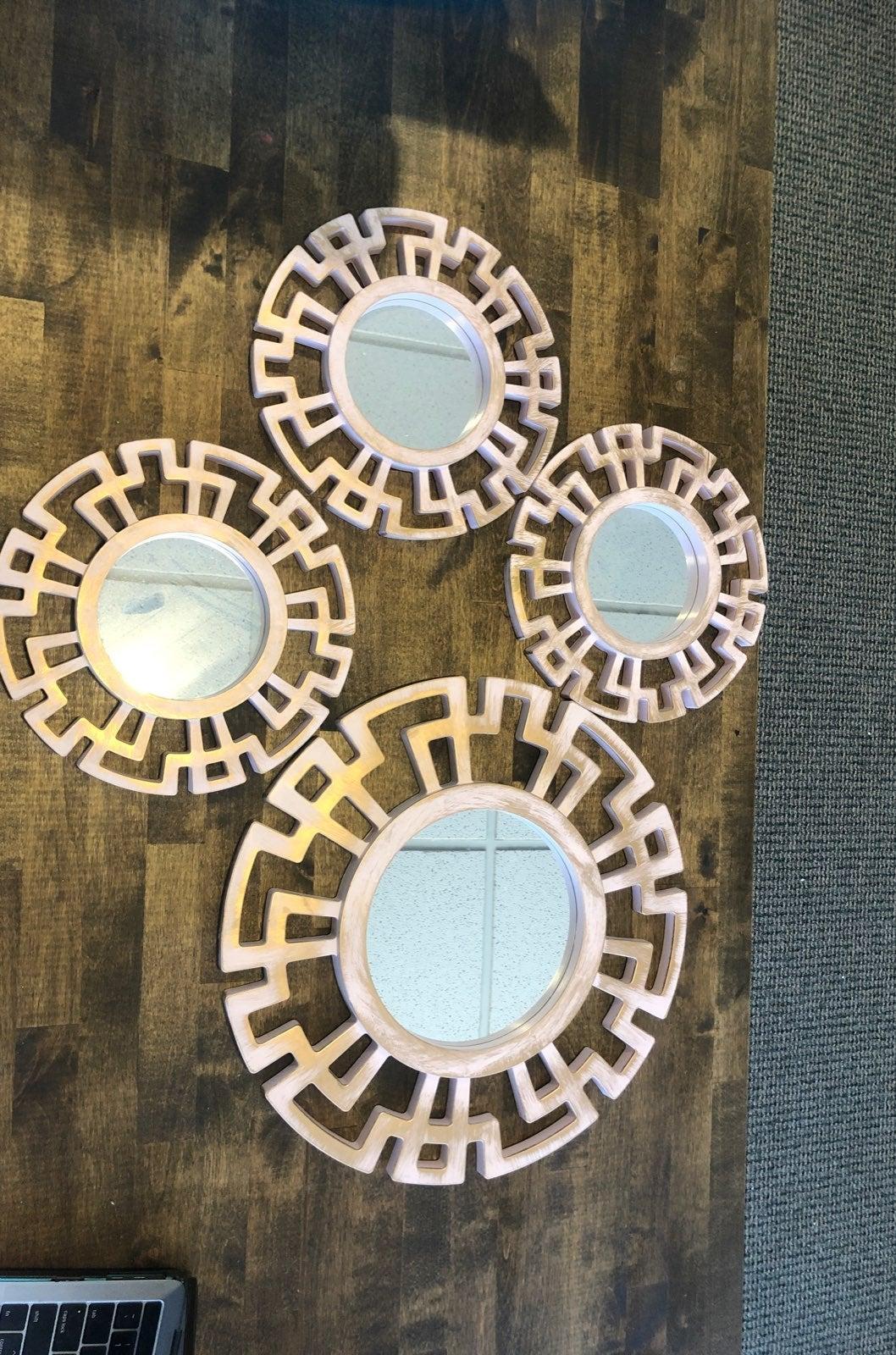 Mirrored art modern pink/gold 4 pc