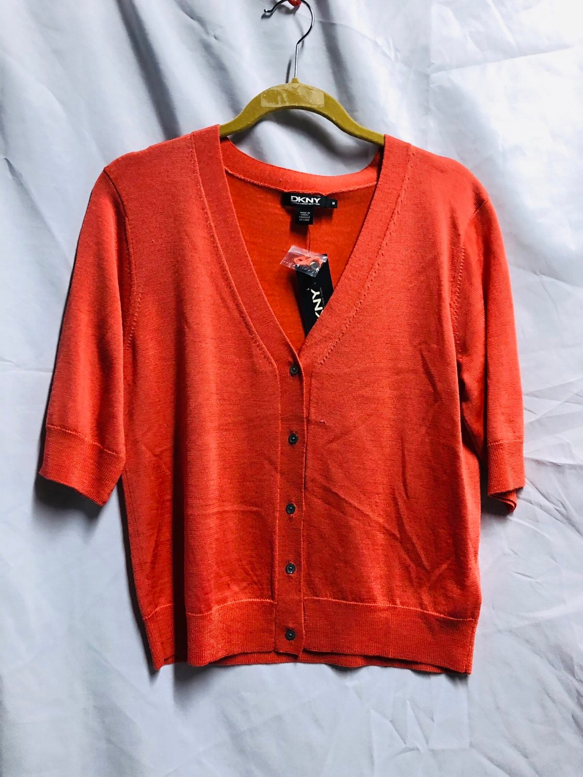 NWT DKNY orange knit top M