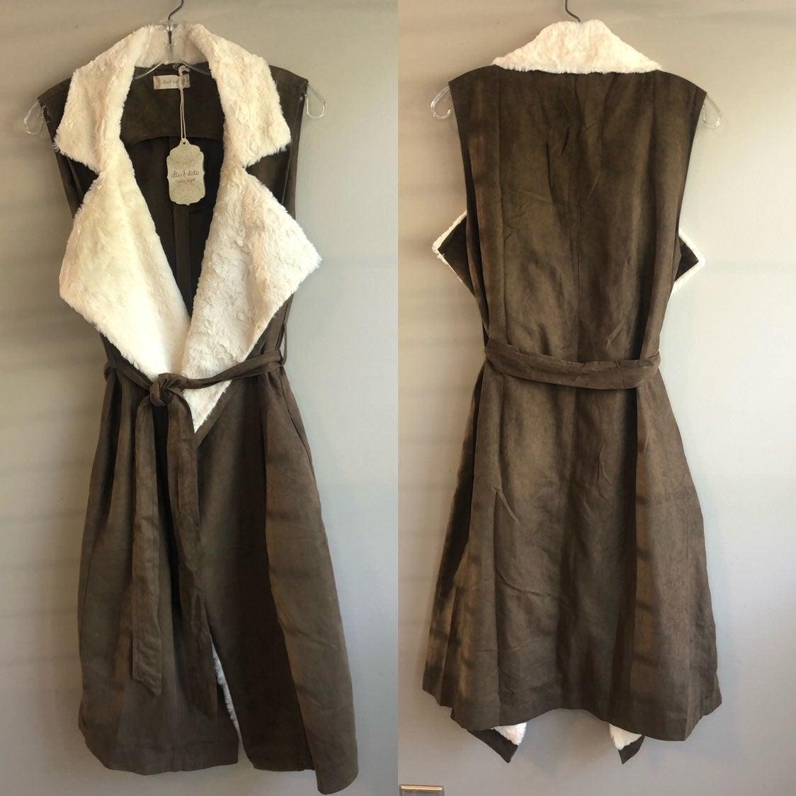 Women's Coat vest sleevless belt suede