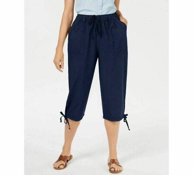 NWT Karen Scott Tie Hem Capri Pants XL