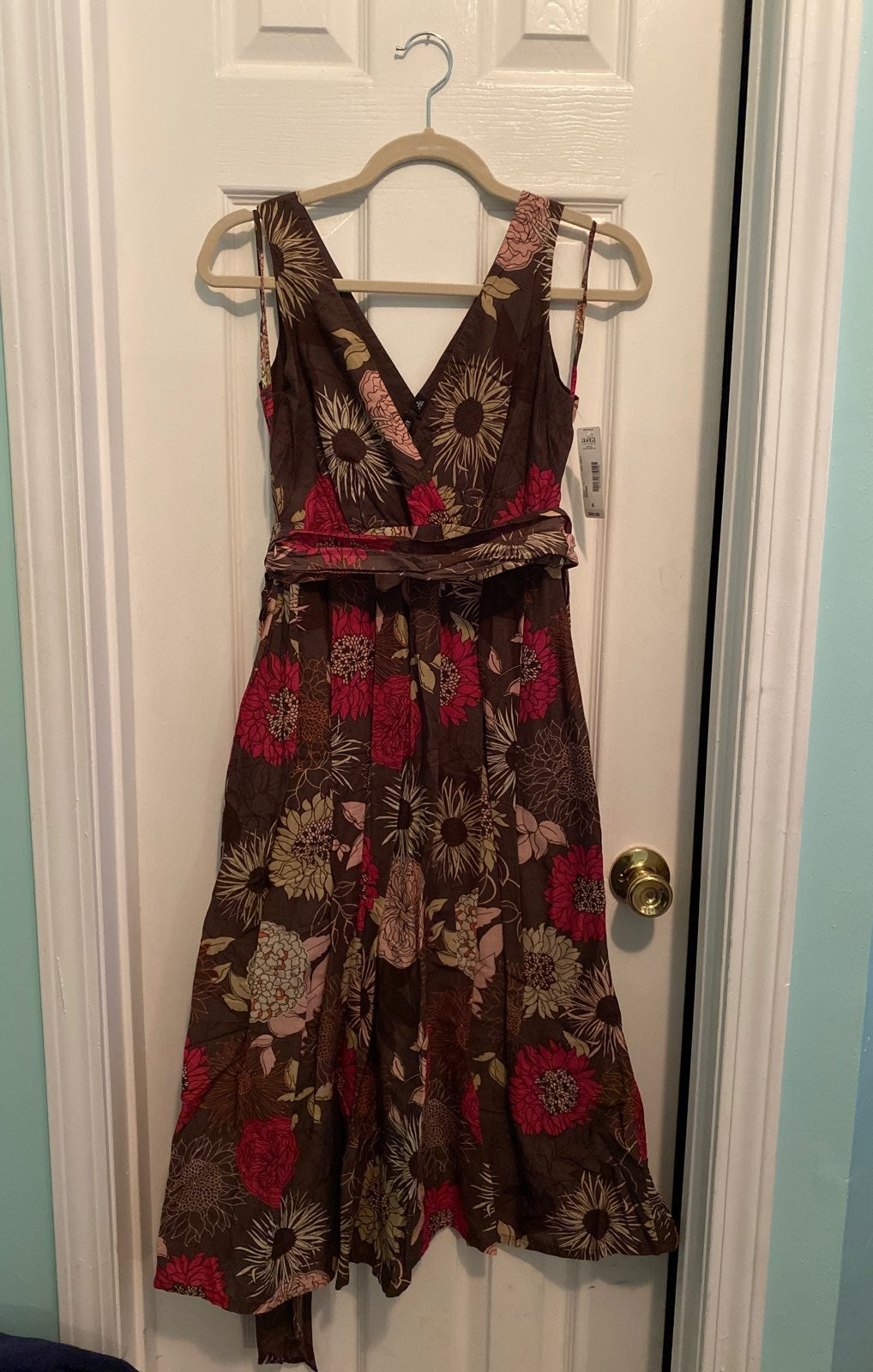 Tea-length brown floral dress