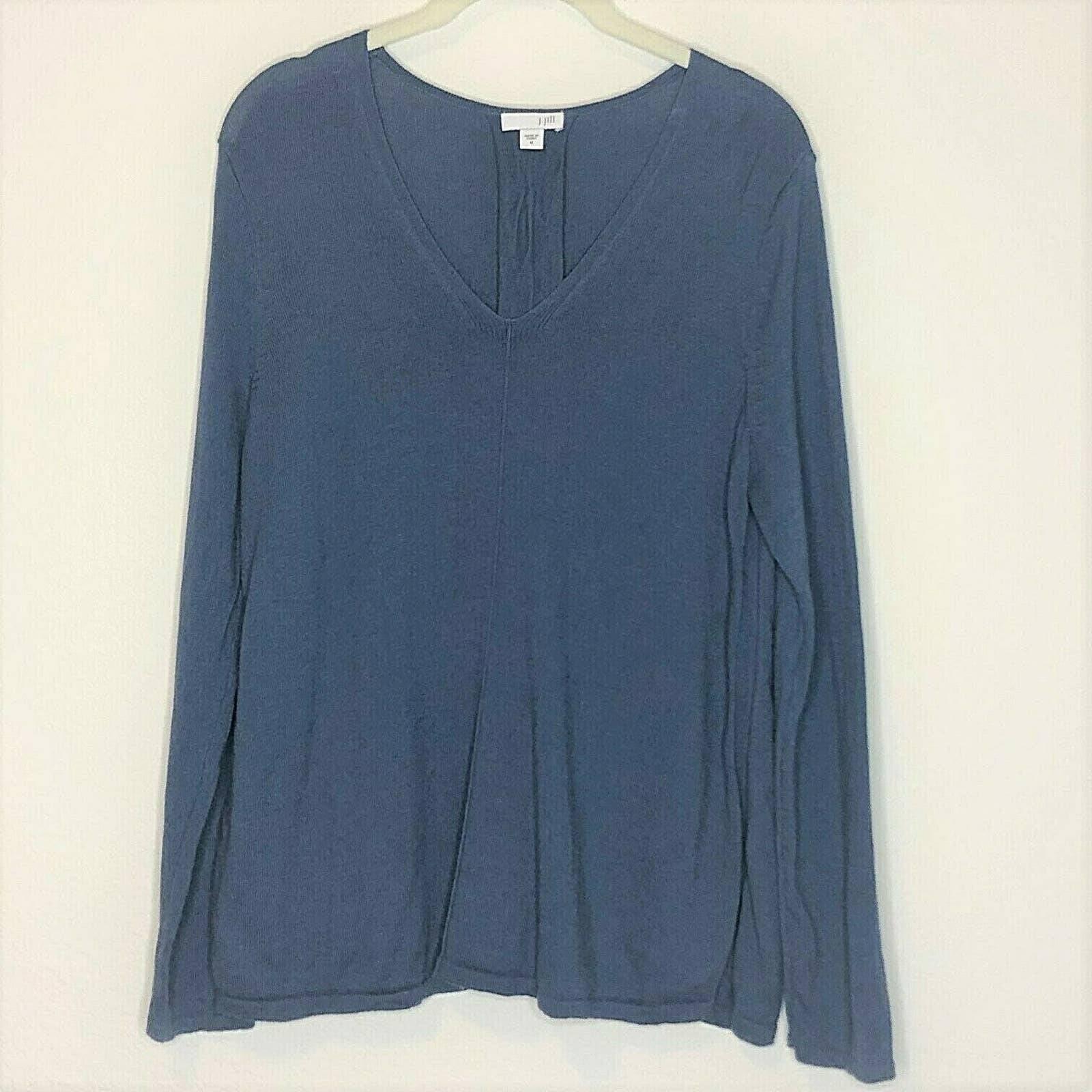 J Jill Sweater V-Neck Blue Cotton Blend