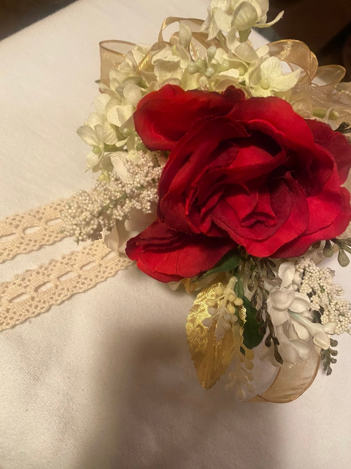PROM Corsage Red, cream & gold