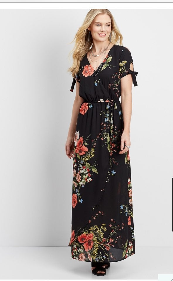 Maurices Tie Sleeve Maxi Dress