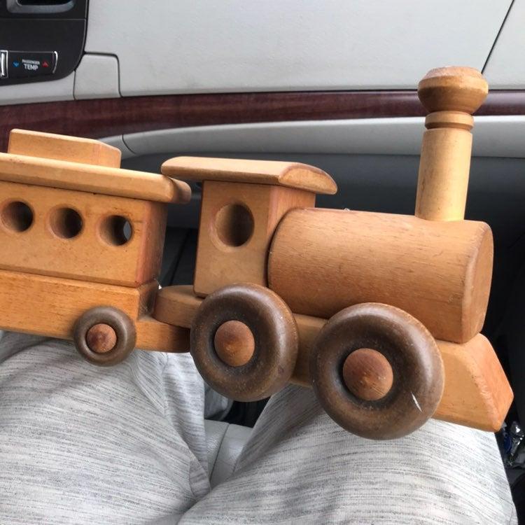 Vintage Yensho wooden toy train handmade