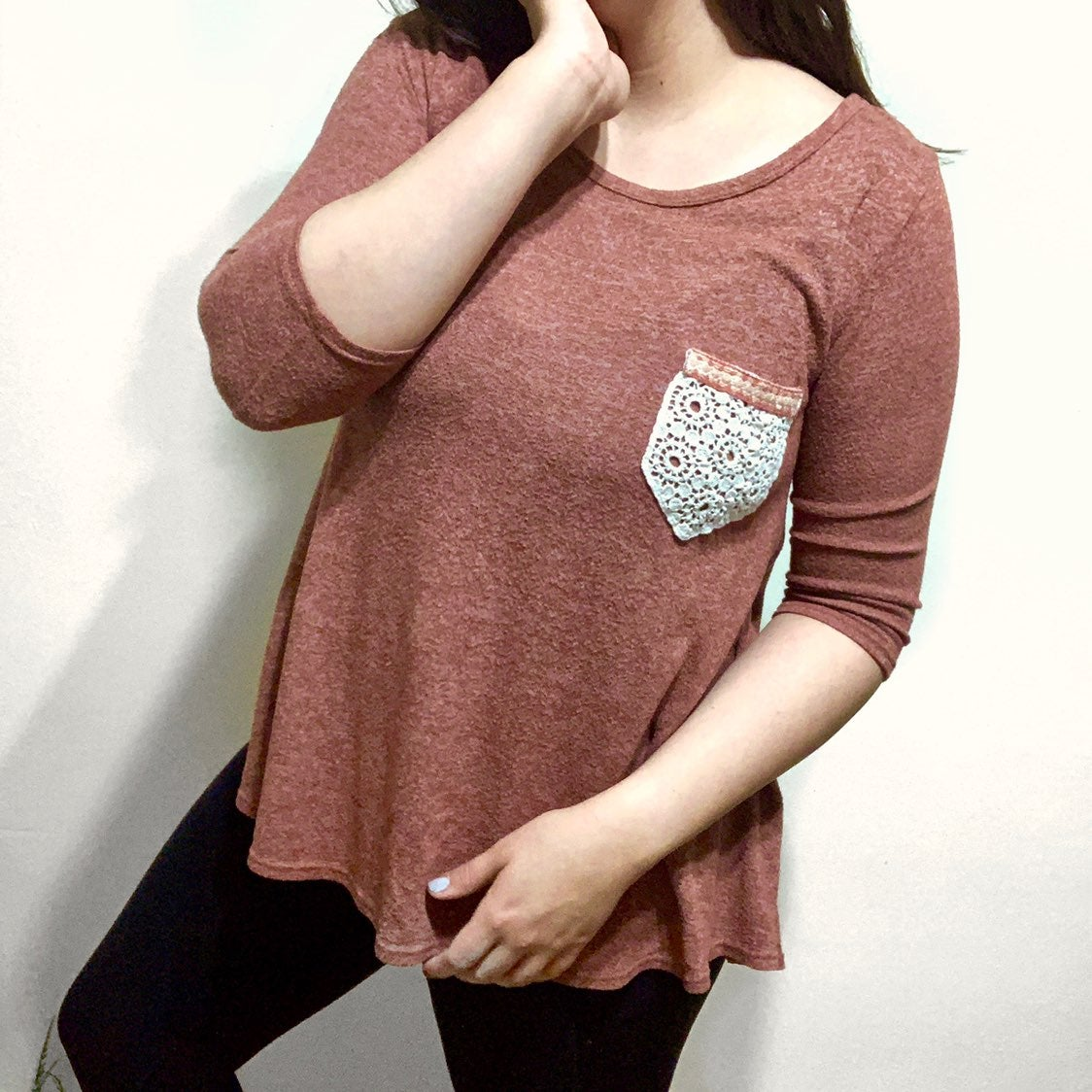 pinkblush Knit Top Embroidered Pocket