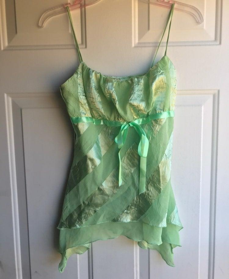 Lime Green Silk & Chiffon Striped Cami