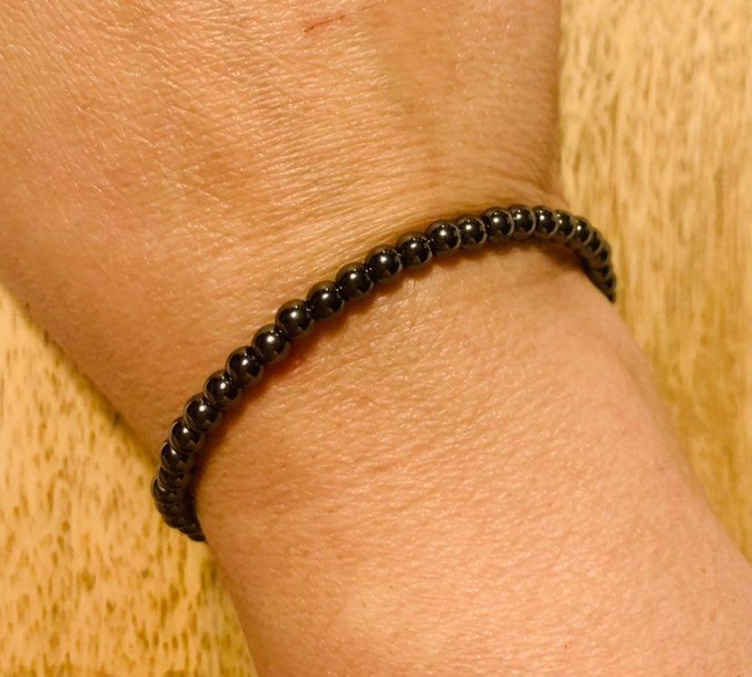 Hematite Memory Cuff Beaded Bracelet