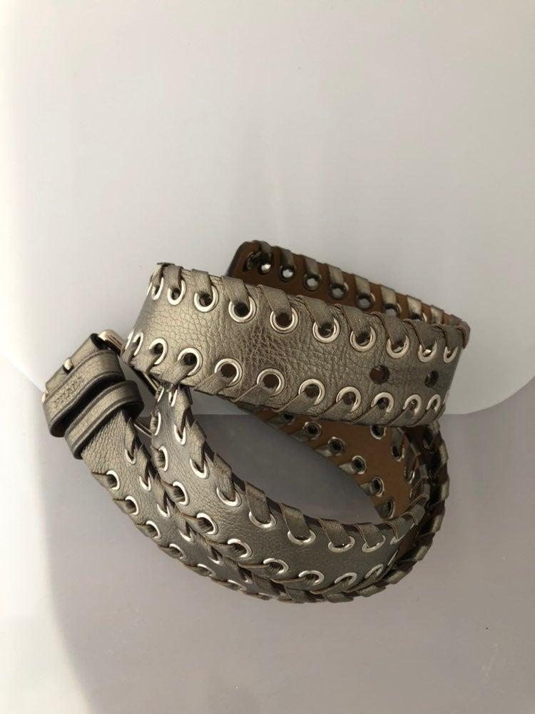 Prada pewter colored leather belt